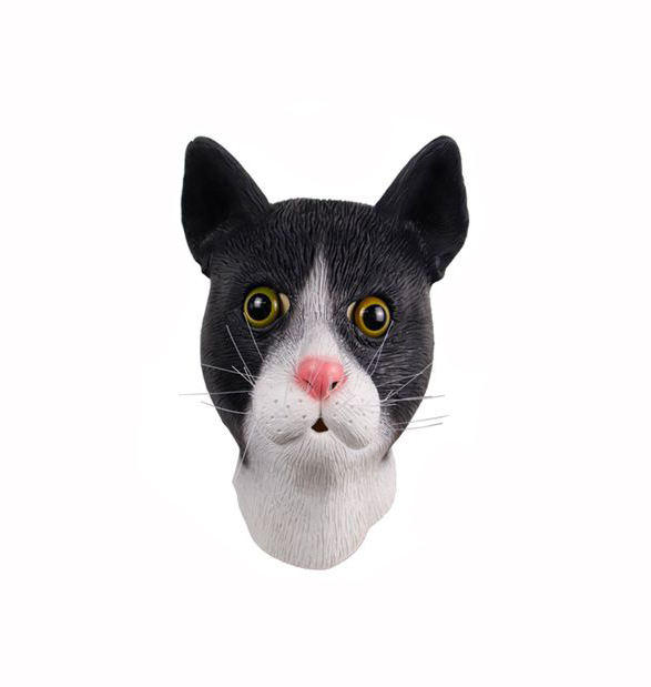 Molezu Factory Sale Funny Cute Cat Mask Costume Latex Mask Animal Full Head Black and White Cat Party Masks OEM/ODM