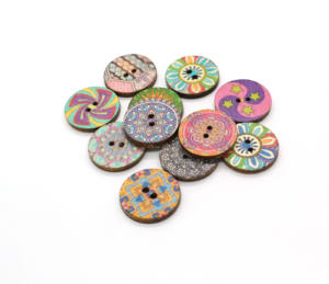 High Quality Custom Printing Design Vintage Wooden Buttons Round Shape For Cloths Jeans