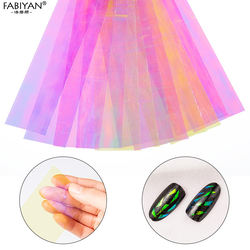 20cm 6pcs / set Nail Art Decorations Broken Glass Gradient Starry Sky Mirror Sheet Stickers Cellophane Manicure DIY Nail Tips To