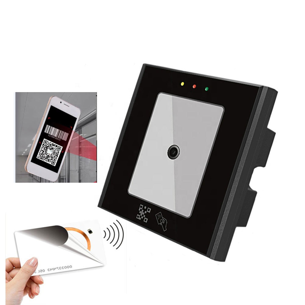 Mini Smart access control QR code reader EM/Mifare RFID card scanner with Wiegand RS485 RS232 TCP/IP USB output