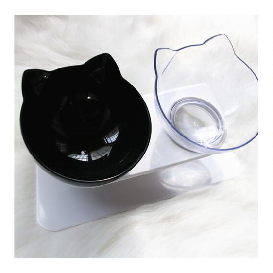 15 Degree Bevel Non-slip Pets Feeder Double Water Bowl Neck Protection Cat Bowl