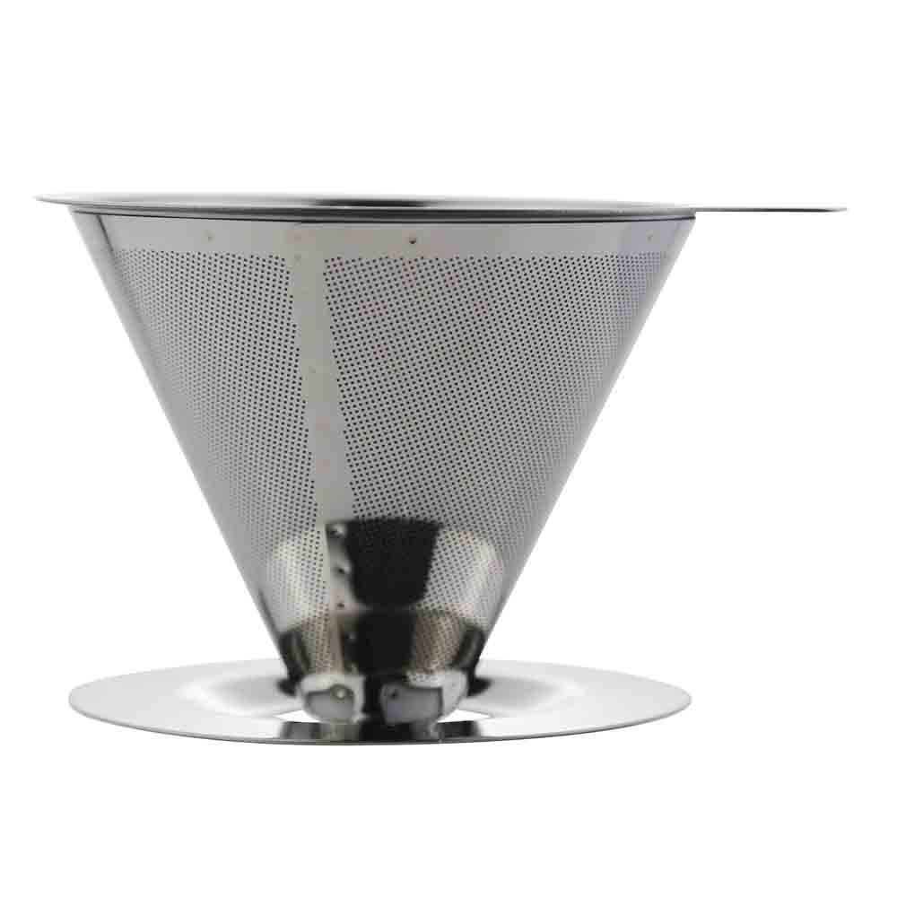 2019 v60 2 cup reusable dripper basket manufacturer double walled metal stainless steel permanent cold brew cone coffee filter