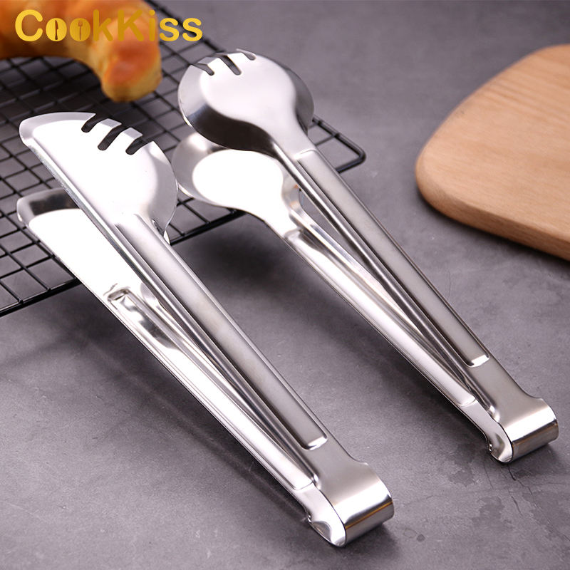 Kitchen Serving Tongs Set Digital Bbq Mini Korean Curved Bread Stainless Steel Food Tong