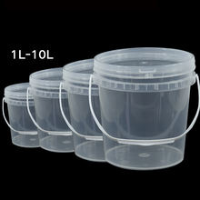 Round clear PP plastic buckets with lids
