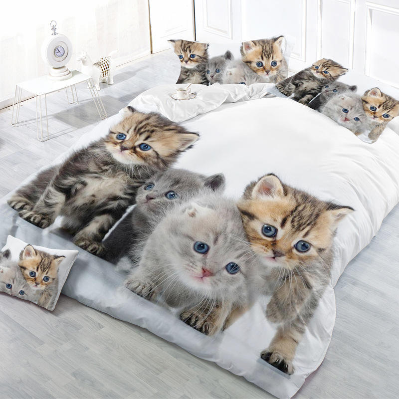 3D Printed Animal Cat Comforter 4pcs Bedding Sets Adult Duvet Cover Set King Size Single Full Double bed linen flat sheet