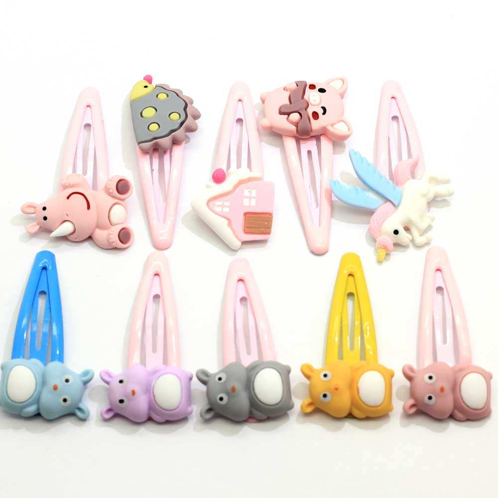 Lovely Animal Snap Hair Clip For Girls Bulk 10pcs /Lot Cartoon Animal Hair Clips No Slip Metal Hairpins Hair Accessories