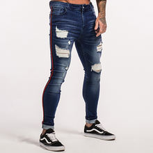 China Factory Bulk Latest Designer Stripped Denim Pants Ripped Washed Men  Ripped Jeans With Hole