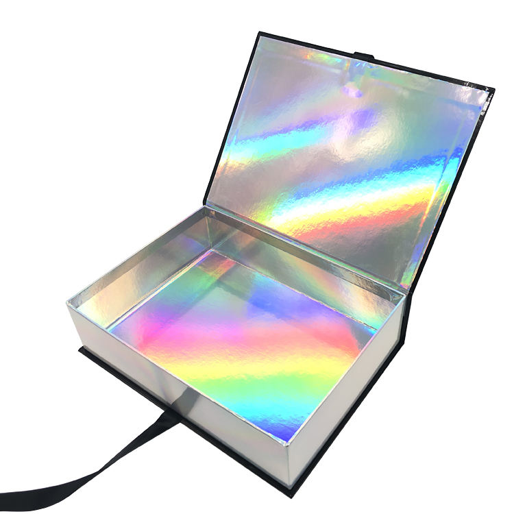 Custom rainbow gift box Shiny Holographic packaging for Cloth Apparel Shoes Dress Rigid Cosmetic Beauty Products Box with Ribbon