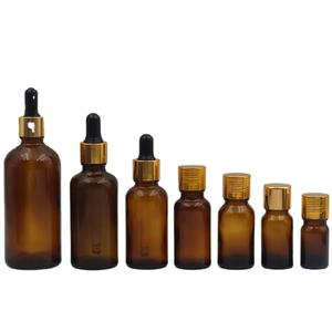 hot sale 5ml 10ml 15ml 20ml 30ml 50ml 100ml 200ml amber glass essential oil bottle with dropper