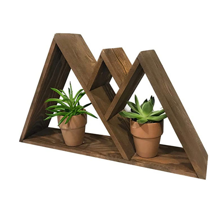 High quality cabin plants mountain shelf wood wall art hanging decoration holder