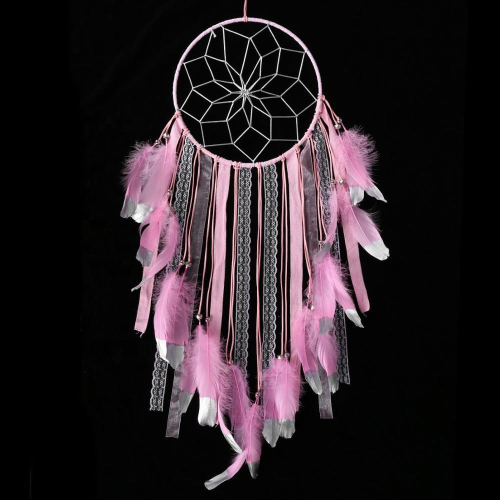 Big size giant large pink color feather silver tip and ring fashion dream catcher for girls