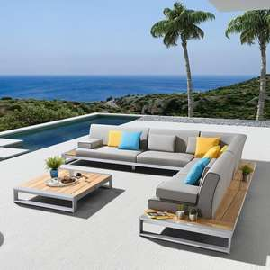 Leisuretouch foshan outdoor furniture teak aluminum garden lounge sofa set with coffee table