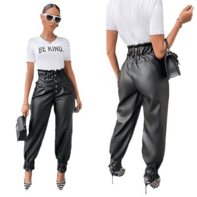 Wholesale Casual Sexy Fashion Plus Size PU Leather Tall Waist Button Wide Flare Pants Trousers Summer Women Clothing