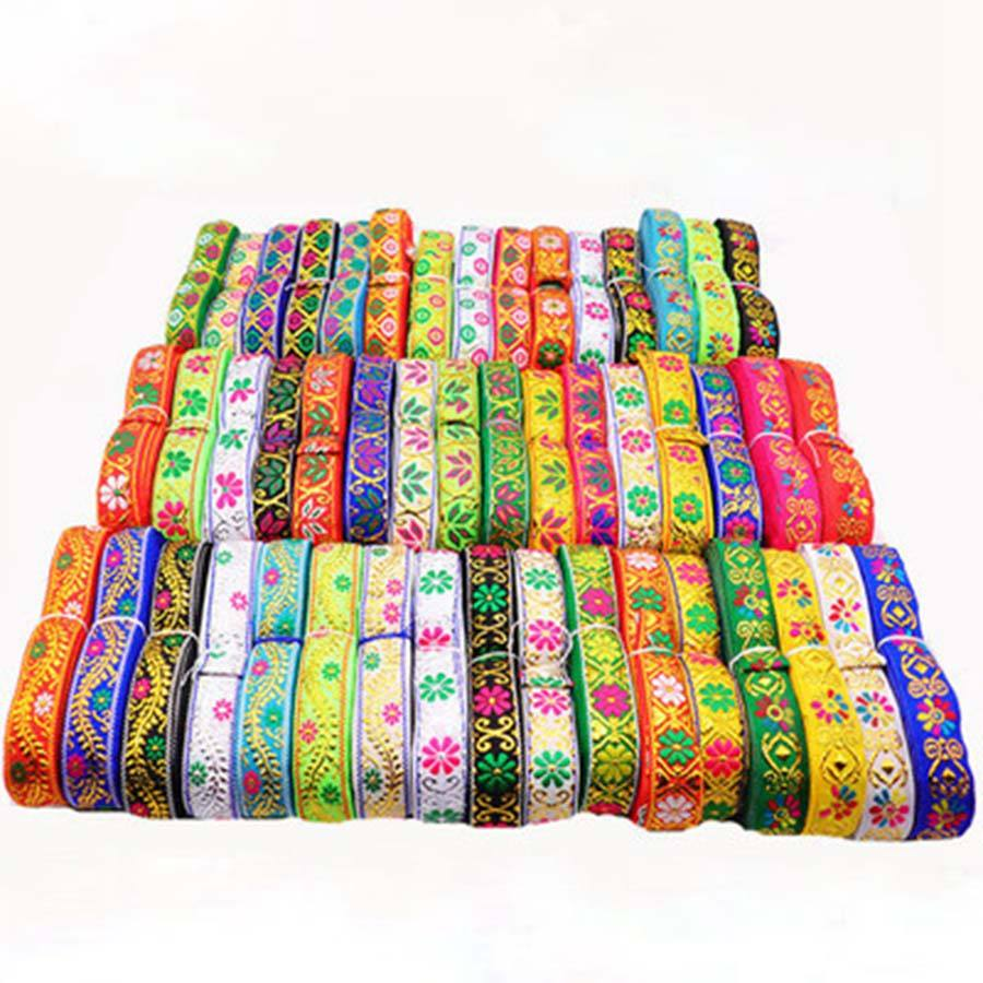 6.8meters/lot Ethnic Embroidery Fabric Lace Sewing Trims 2cm Width Tribal India Boho Fashion Decorative Webbing