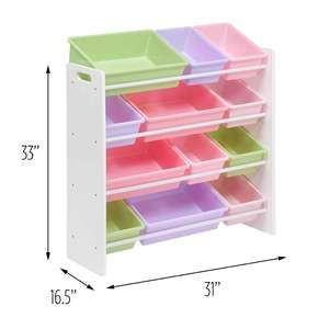 4 Tier Wood Children Kids Toy Storage Organizer With Plastic Storage Bins