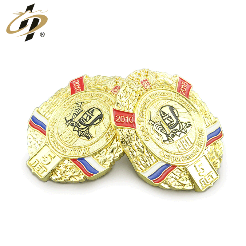 Shuanghua Zinc Alloy Gold Metal Soft Enamel Souvenir Pin Badge