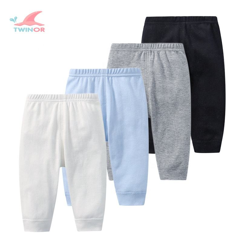 Factory wholesale custom solid color organic cotton baby boys jogger pants