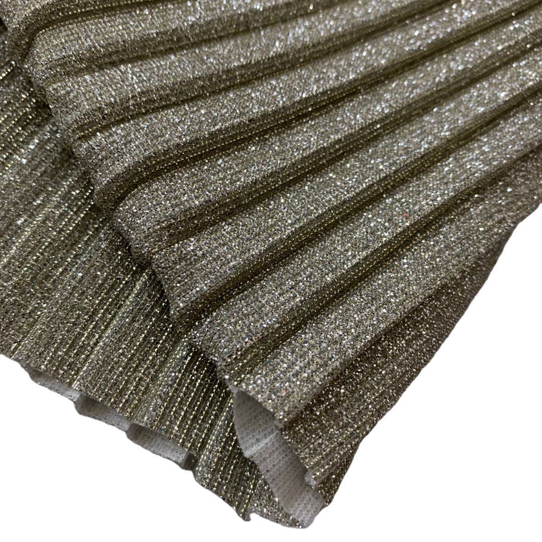 Poly Broad pleated glitter metallic moonlight fabric bonded with knit fabric for garment dancing fabric manufacturer