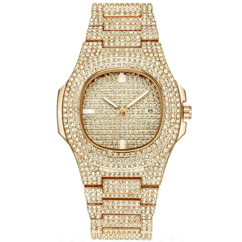 18K Gold Watch Men Luxury Brand Diamond Mens Watches Top Brand Luxury Iced Out Male Quartz Watch Calender Unique Gift For Men