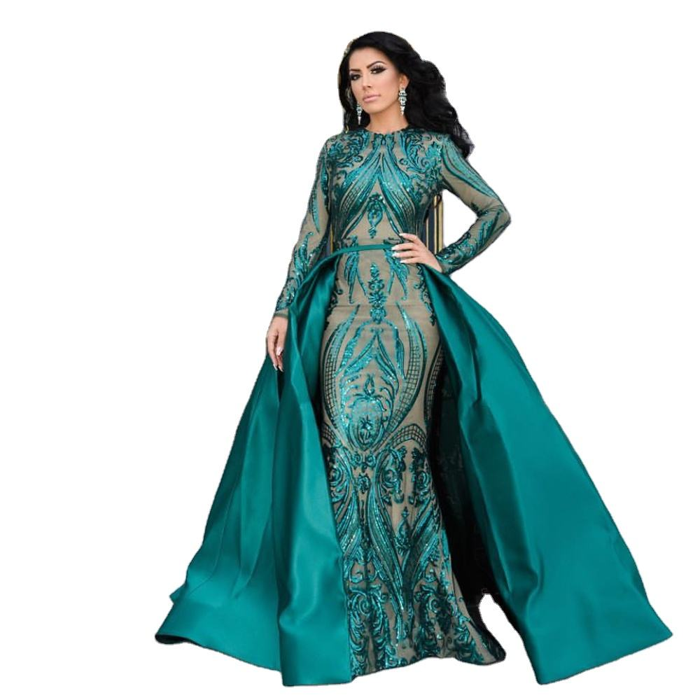 Green Burgundy O Neck Full Lining Party Maxi Gown Long Sleeve Stretch Sequins Evening Dress with Detachable Train