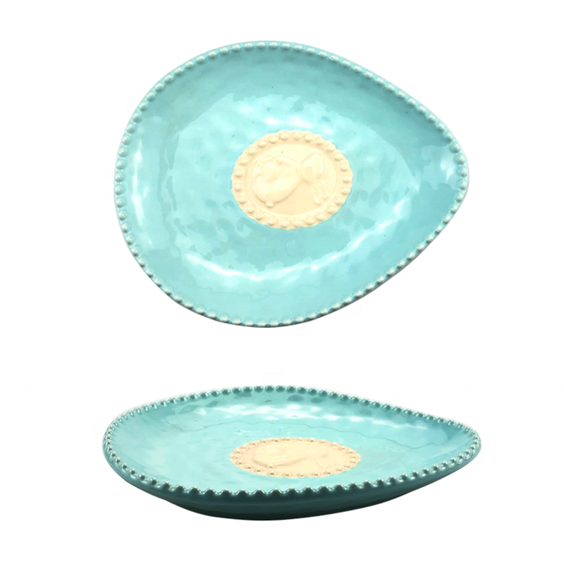 11 Fine Porcelain Spring Green Color Egg Serving Plate