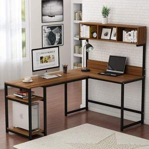 Combohome Office Study Writing Table Computer Workstation Wooden Gaming Table Corner Computer Desk L-Shaped Desk