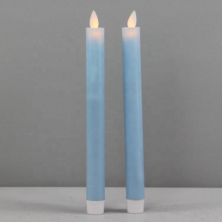 Real Wax Blue Moving LED Candle Stick with Flickering Flame