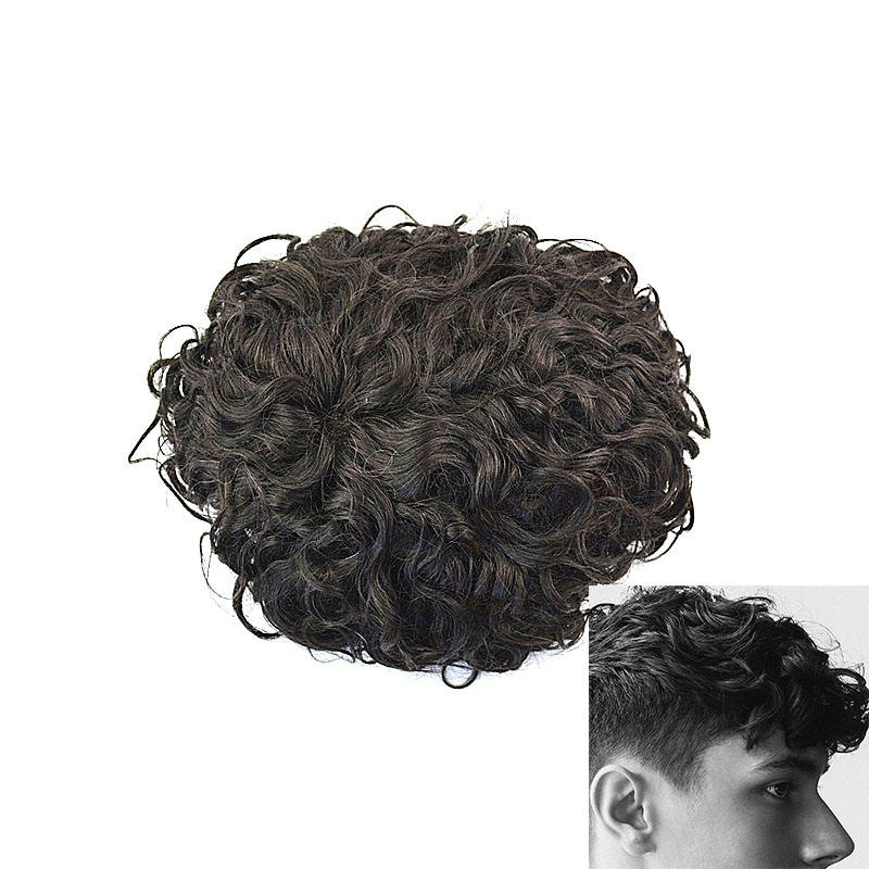 Wholesale Virgin Indian Hair Curl Thin Skin Human Hair TOUPEE For Men Hair System Piece Free Shipping