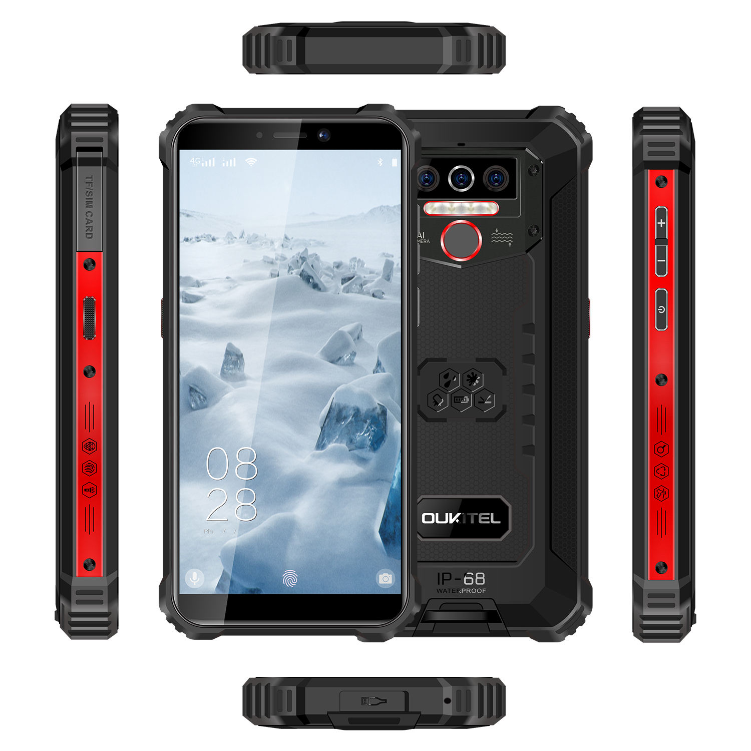 OUKITEL WP5 5.5 inch Rugged Mobile phone Android 9.0 Waterproof Shockproof Dustproof smartphone with 4 Camera 4 LED Flash Light
