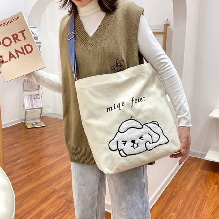 Fashion Eco-friendly Recycle Cotton Canvas Bag Printed Bear Cartoon Print Shoulder Large Capacity Bags