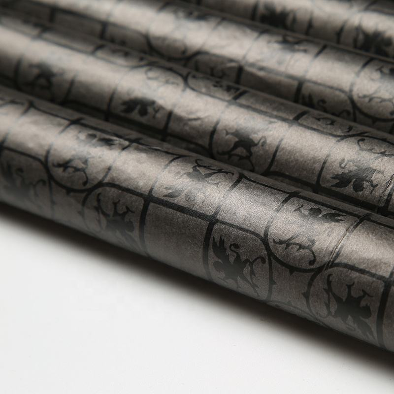 Eco friendly black wrapping tissue paper custom full printed logo