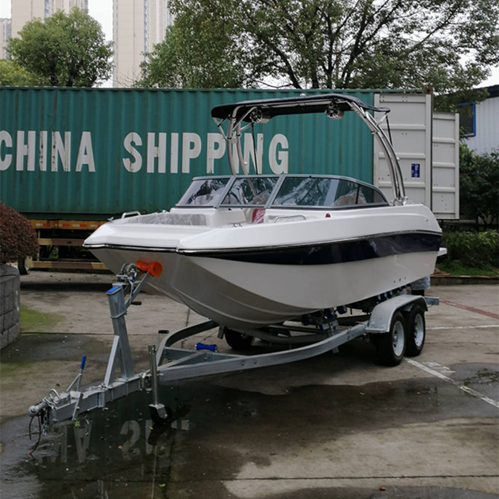 fishing yacht wakeboard boat with outboard engine