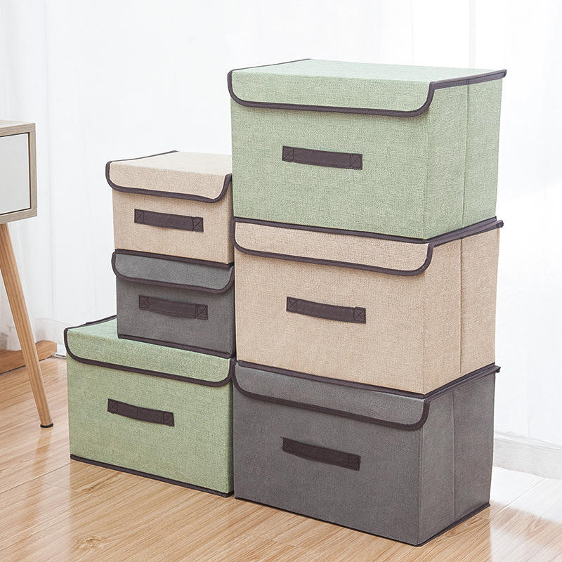 Custom Home Organizer Non Woven Storage Box Set Foldable Reusable Large Capacity Clothes Toys Sundries Storage Boxes & Bins
