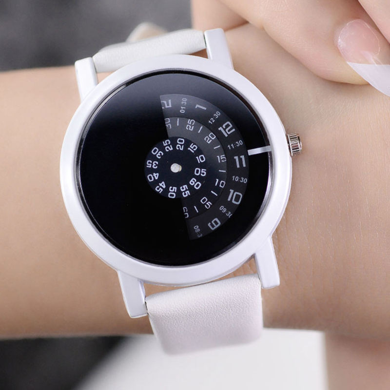 Creative Design Simple Rotary Table Wrist Watch Special Digital Discs Hands Fashion Quartz Watches For Men Women