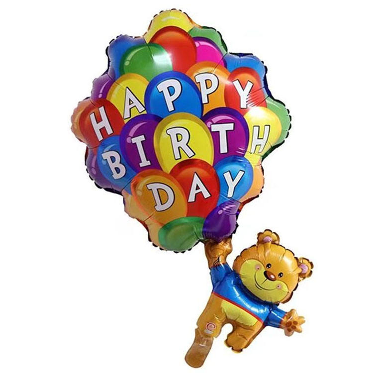happy birthday bear aluminum film balloon