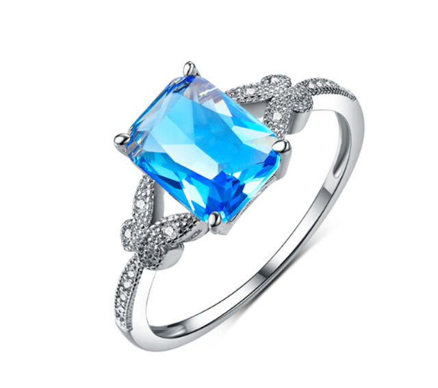 New model White Gold Plated Blue Crystal Cubic Zircon Ring