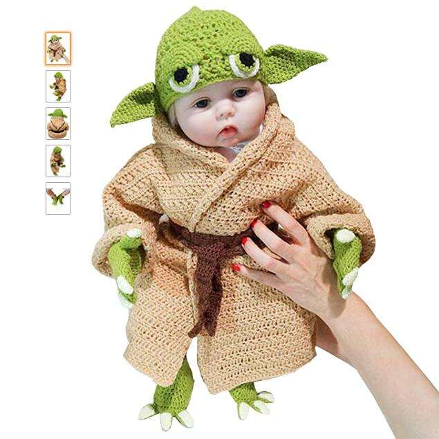 Baby Yoda Infant Costume Newborn Baby Photography Prop Handmade Crochet Knit Halloween Cosplay Party Costume Green