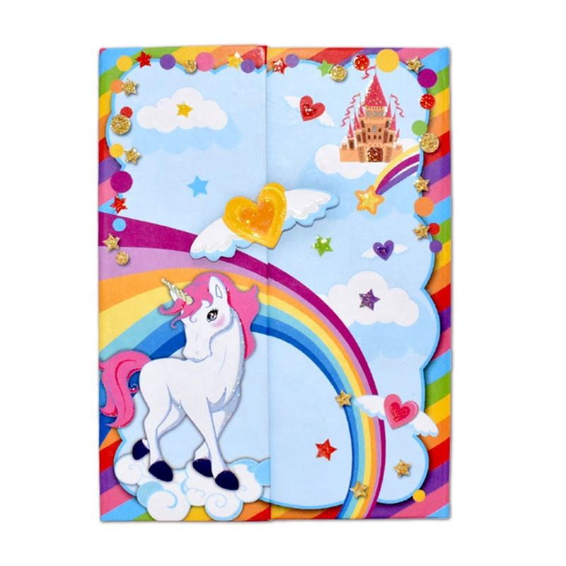 Hot sale kid luxury stationery gift set lovely cartoon unicorn notebook journal paper notebook with pen for girls