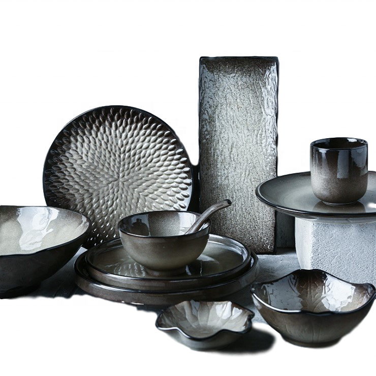 Japan style unique grey ceramic dinnerware with plates for hotel use