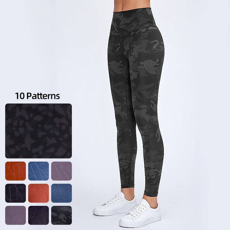 Ready To Ship RTS 1 Pcs Wholesale Custom High Quality Women High Wasted Print Yoga Pants Leggings With Camo Leopard Snakeskin