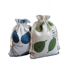 Creative Portable Printed Cotton Linen Drawstring Bag Tea Gift Candy Packaging