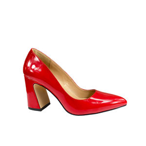Hot Selling Fashionable Red PU Pointed Toe Thick High Heel Pumps Shoes for Women