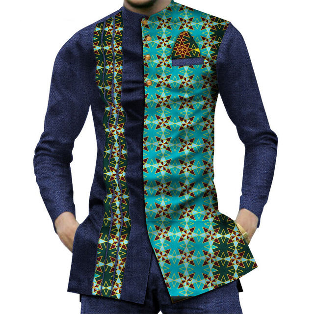 Casual 100% Cotton Mens African Clothing Dashiki Patchwork Print Shirt Tops Bazin Riche Traditional African Suit Clothing WYN380