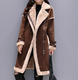 Women Faux Leather Lambs Wool Coat Female Long Thick Warm Shearling Coats Suede Leather Jackets Autumn Winter Female Outerwear
