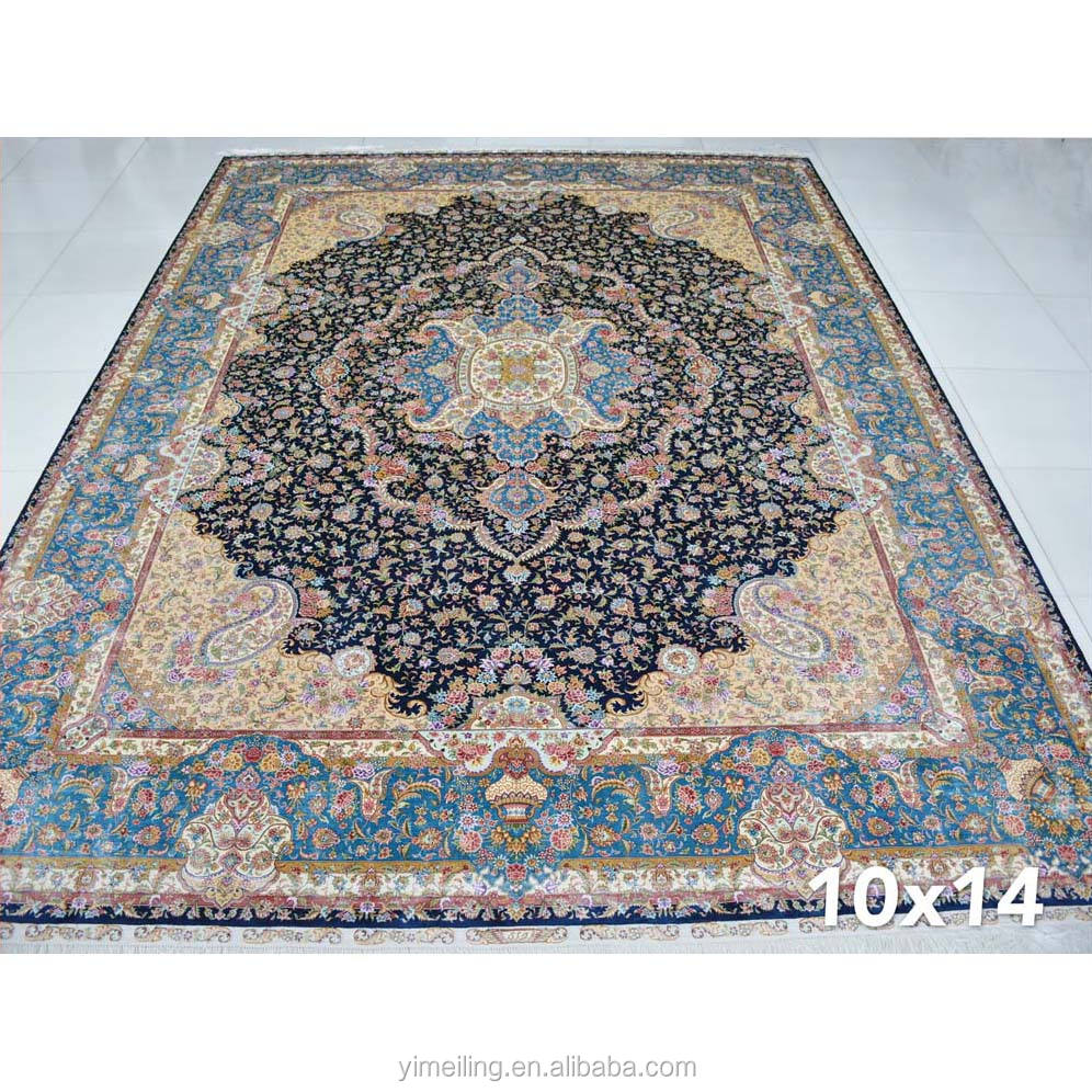 10x14 Dark Blue Large Size Big Handmade Hand Knotted Persian Silk Area Rugs Carpets for Living Room Bedroom