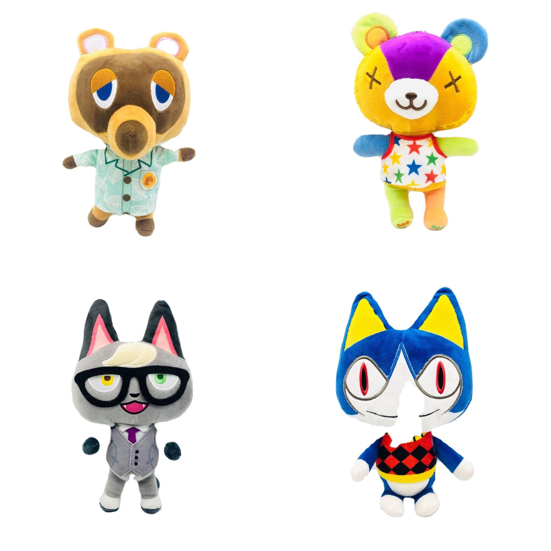 Factory Direct Sales 12 animal club doll Animal toys Crossing raccoon green leaf purse weever plush toy doll