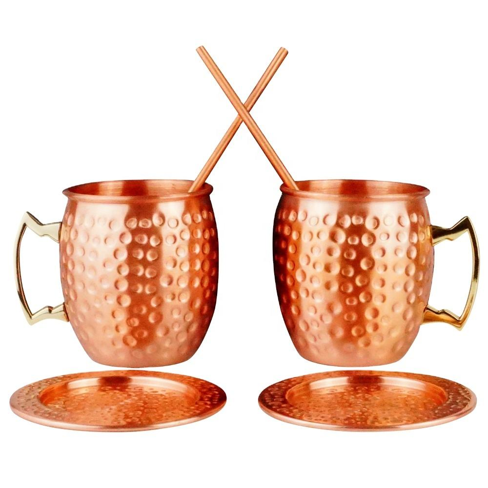 Hammered 100% Pure Copper Mug Moscow Mule Metal Copper Cocktail Cup 500ML, With Straw and Coaster, Matt Finishing