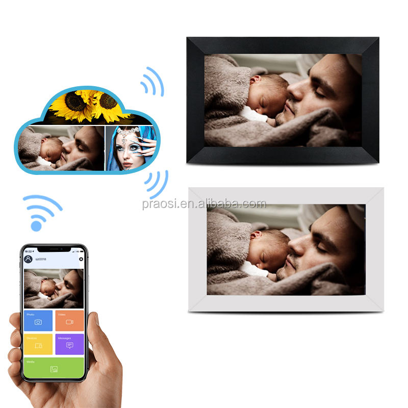 Nuvola digitale Album di 10.1 Pollici WiFi 16GB Digital Photo Frame 1280x800 IPS Dello Schermo di Tocco di Aggiungere Foto/I <span class=keywords><strong>video</strong></span> di Android App/Email