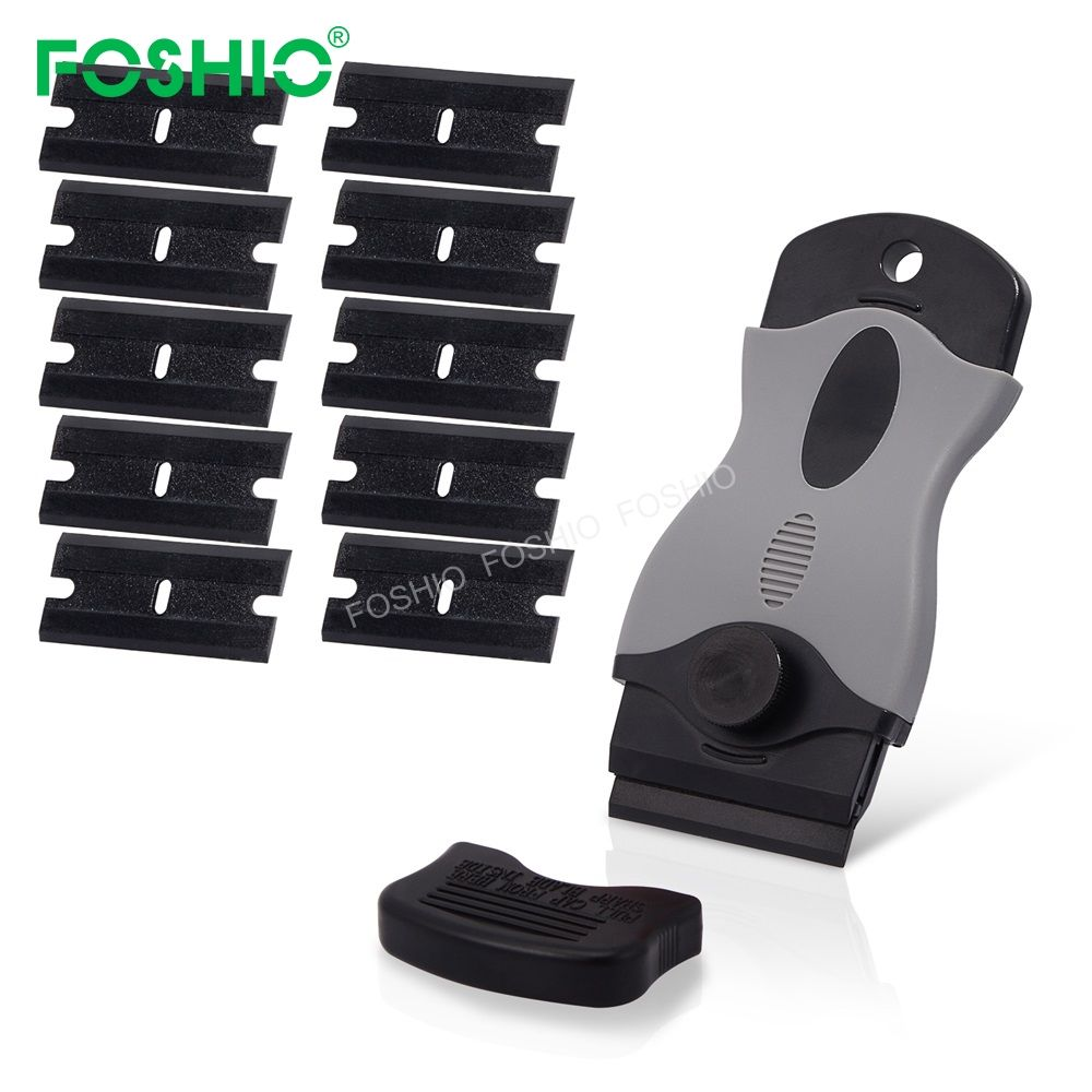 Soft Grip Safety Glass Window Cleaning Scraper Razor Blade Scraper With Metal and Plastic Blade