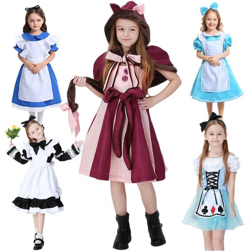 Halloween Party Mad Hatter Alice In Wonderland Carnival Red Heart Queen Dance Cat Girl Costume Sexy Maid Cosplay Lolita Costume